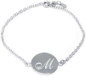 SILVER TREASURES Silver Treasures Letter M Pure Silver Over Brass 7 Inch Cable Link Bracelet