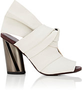 Proenza Schouler WOMEN'S ASYMMETRIC BOW-DETAIL LEATHER MULES-WHITE SIZE 8