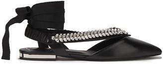 Roger Vivier Choc Real V Crystal-embellished Leather Point-toe Flats