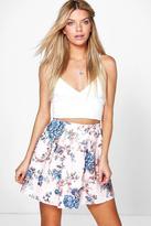Boohoo Bea Floral Skater Skirt