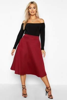 boohoo Plus Basic Plain Full Circle Midi Skater Skirt