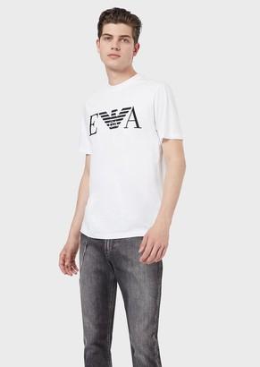 Emporio Armani Cotton Jersey T-Shirt With Logo Print