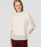 LOFT Petite Striped Lace Mockneck Top