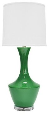 "Worlds Away Ceramic 30"" Table Lamp Base Color: Kelly Green"
