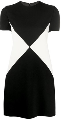 Valentino Two-Tone Short-Sleeve Dress