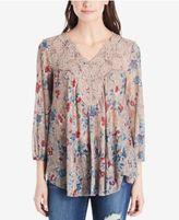 Vintage America Printed Lace-Trimmed Top