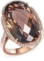 Bloomingdale's Smoky Quartz Oval and Diamond Ring in 14K Rose Gold - 100% Exclusive