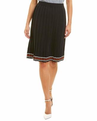 J.o.a. Women's Pleated Rib Knit Striped Soft Sweater Skirt