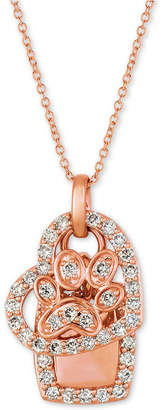 "LeVian Le Vian Nude Diamond Heart & Paw 20"" Pendant Necklace (1/3 ct. t.w.) in 14k Rose Gold"