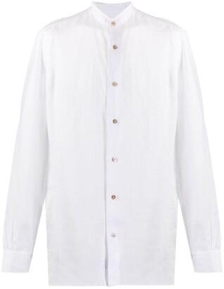 Mazzarelli Mandarin Collar Linen Shirt