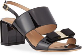 Salvatore Ferragamo Giulia Patent Leather Vara Bow Sandals