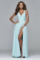 Faviana 7941 Long full chiffon dress with lace detailing
