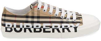 Burberry Men's Larkhall Vintage Check Logo Canvas Sneakers