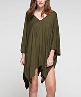 Olive Asymmetric-Hem Cape-Sleeve Dress