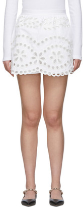 RED Valentino White Gabardine Embroidered Shorts