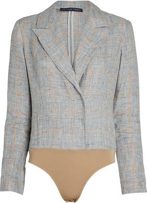ZEYNEP ARCAY Checked Linen Blazer Bodysuit