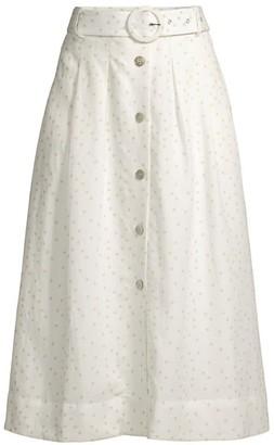 Rebecca Vallance Holliday Polka Dot Linen-Blend A-Line Skirt