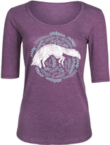Heather Purple Fox & Branches Three-Quarter Sleeve Tee