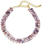 Kenneth Jay Lane 12 Purple Shell Choker with 4 Inch Polished Gold Extender Necklace Necklace