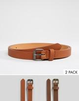 Asos 2 Pack Skinny Belt In Tan/brown Save