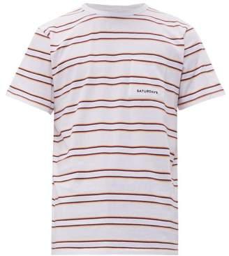 Saturdays NYC Randall Striped Cotton Jersey T Shirt - Mens - White
