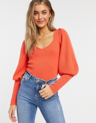 French Connection balloon-sleeve sweater in grapefruit