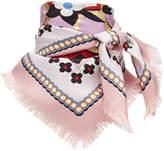 Fendi floral logo square scarf