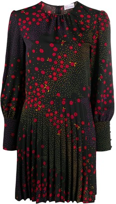 RED Valentino Floral Print Long-Sleeve Pleated Dress