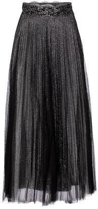 Christopher Kane Pleated metallic tulle maxi skirt