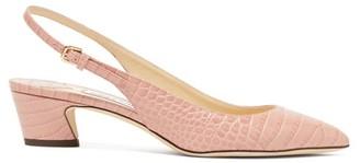 Jimmy Choo Gemma 40 Crocodile-effect Leather Slingback Pumps - Womens - Light Pink