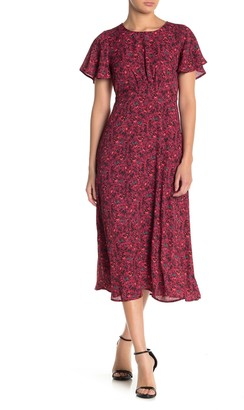 Bobeau Floral Flutter Sleeve Cutout Midi Dress