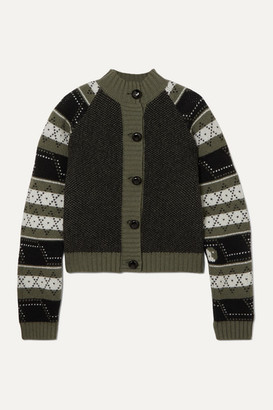 Ganni Striped Fair Isle Wool-blend Cardigan - Army green
