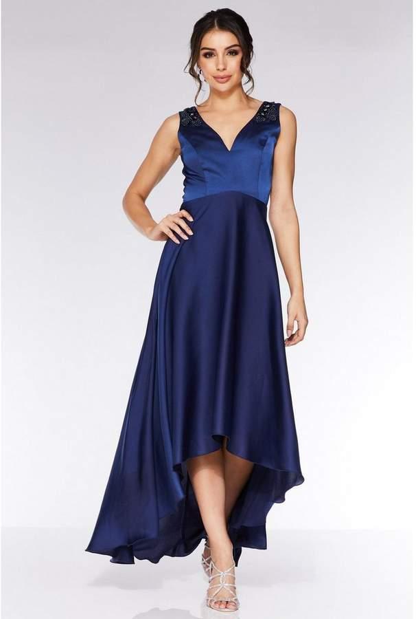 Quiz Navy Satin Embellished Dip Hem Dress