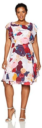 Julia Jordan Women's Plus Size One Piece Flutter Sleeve Floral Printed Chiffon