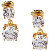 Anne Klein Sparkling Ears Cubic Zirconia Double Drop Clip-On Earrings