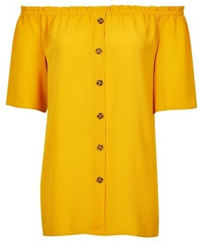 Dorothy Perkins Womens **Tall Yellow Button Bardot Top