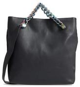 KENDALL + KYLIE Van Leather Foldover Clutch - Black