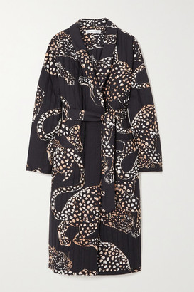 Desmond & Dempsey Jag Belted Quilted Printed Voile Robe - Navy