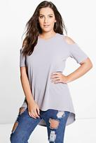 Boohoo Plus Ivory Ribbed Open Shoulder Top