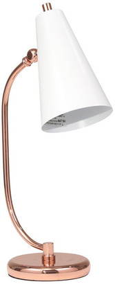 Sagebrook Home Metal Desk Lamp, White and Rose Gold, 20""