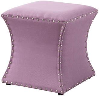 Pilaster Designs Rylen Nailhead Trim Upholstered Square Stool Ottoman, Purple