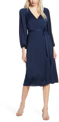 Ali & Jay Golden Days Satin Wrap Midi Dress
