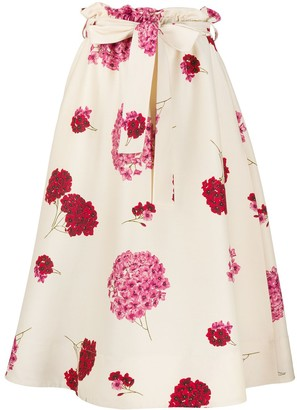 La DoubleJ Big Blooms A-line midi skirt