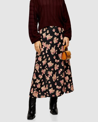 Topshop Floral Print Double Split Midi Skirt
