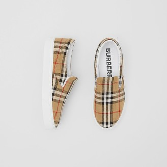 Burberry Latticed Cotton Slip-on Sneakers