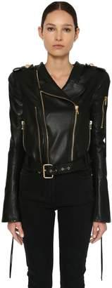 Balmain Cropped Leather Biker Jacket