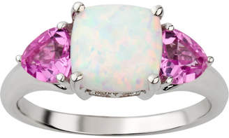 FINE JEWELRY Womens White Opal Sterling Silver 3-Stone Cocktail Ring