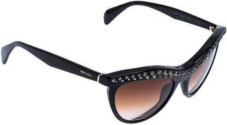 Prada Black/Brown Gradient SPR 04P Crystal Embellished Cateye Sunglasses