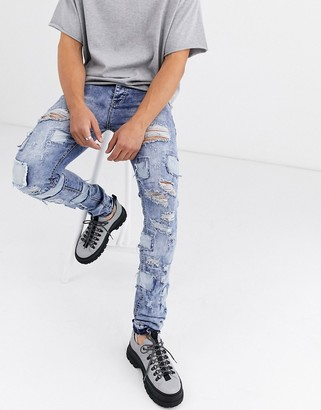 Sixth June destroyed and patched skinny jean in blue