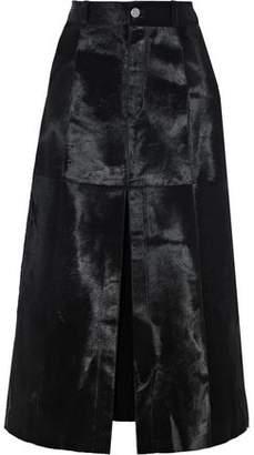 Anine Bing Vera Split-front Calf Hair Midi Skirt